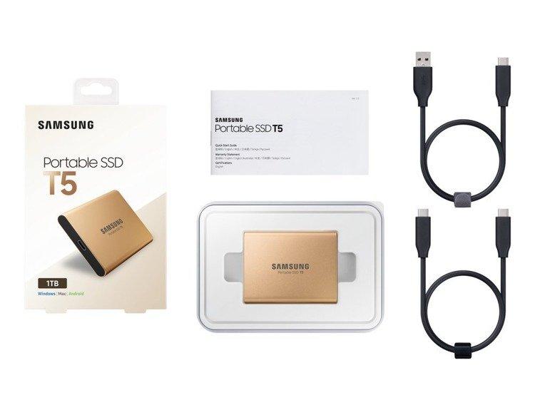SAMSUNG T5 Dysk zewnetrzny SSD 500GB Złoty USB 3.1 (MU-PA500G/EU)